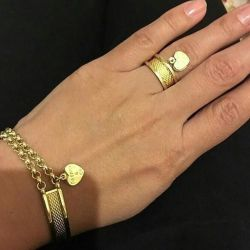 Gold bracelet with two chains