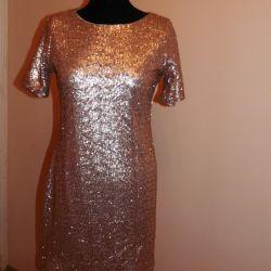 Copper gold evening dress