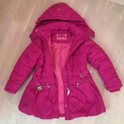 Bright raspberry coat for girls 6-7 years old