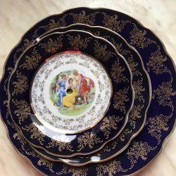 Dish: Three graces, cobalt, gold, Czechoslovakia