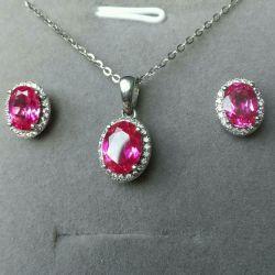серебряные серьги и кулон розовые сапфиры