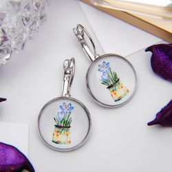 Candy glass earrings flowers in a pot, colored