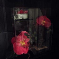 подсвечник декоративный со свечой