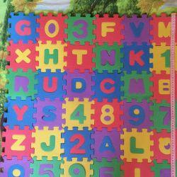 Rug puzzle alphabet 36 e. 10 * 10 cm.