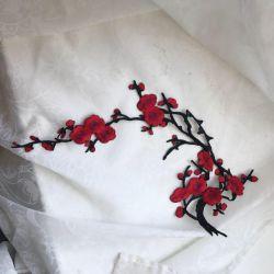 Термонаклейка для ткани  Большая Красная сакура