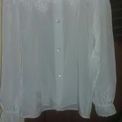 Blouse white natural silk marker 122