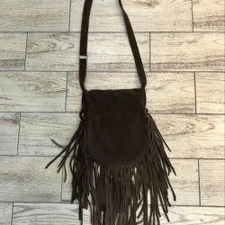 Leather bag on / over the shoulder, genuine leather