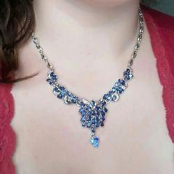 позолоченное ожерелье синие фианиты