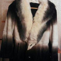 Полушубок 44-46 с воротником канадская лиса