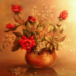 Painting Roses (oil on canvas)