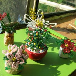 Bouquets, flower arrangements of beads, herringbone.