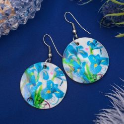 Shell Earrings flowers, circle, colored.