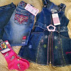 Jeans, sundress, socks