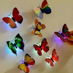 Glowing butterflies on batteries