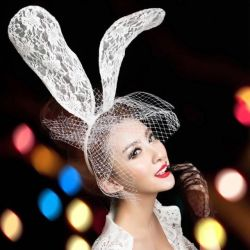 White rabbit lace ears with a veil