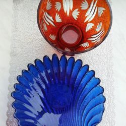 Colored glass vases