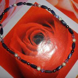 Margele (lapis lazuli), cercei argint (perle)