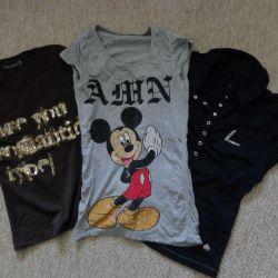 футболки- Zara, Микки, Luhta 40-42