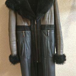 Genuine leather sheepskin coat