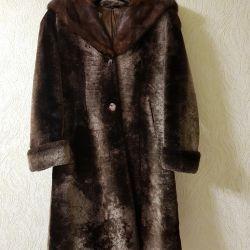 Doğal mouton ceket, kapüşonlu vizon