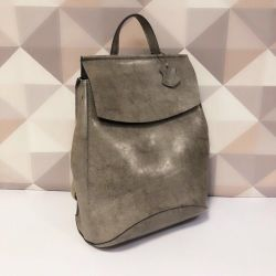 A leather backpack