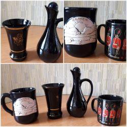 Pottery vase, pitcher, mug.