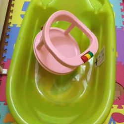 Μπανιέρα ok μωρό onda + καρέκλα μπάνιου + στρογγυλό λαιμό