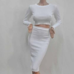 New suit cropped blouse + skirt