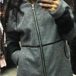 Hood ile gri yeni ceket