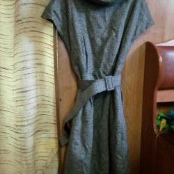 A woolen dress with lining.