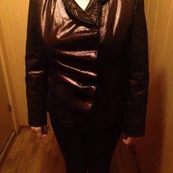 Женская кожаная б/у куртка