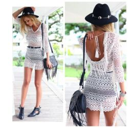Lace new dress with tassels