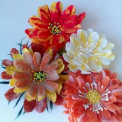 Brooches - hairpins from wool. Manual work.