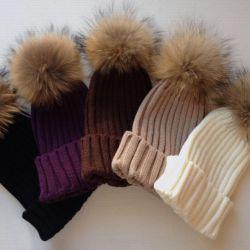 Kürk Ponponlu Şapka (Rakun)