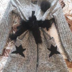 Knitted cardigan + fur fox