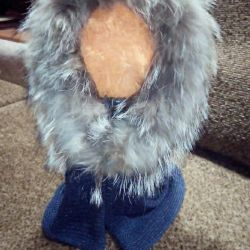 Cap-Scarf with natural fur