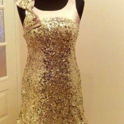 Вечернее платье в поедках золото