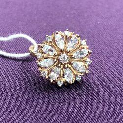 Золотое женское кольцо с фианитами