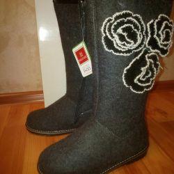 Indigo felt boots. NEW.
