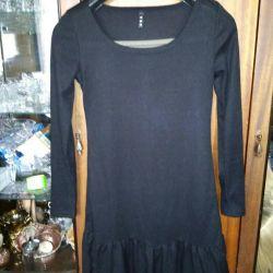 Knitted, tight-fitting black mini dress