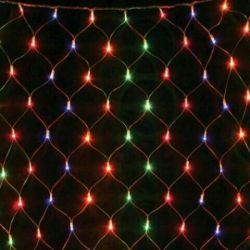 New Year's garland on the window mesh