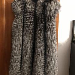 Vest fur coat of silver fox (new)