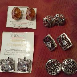 Silver plated earrings and rings