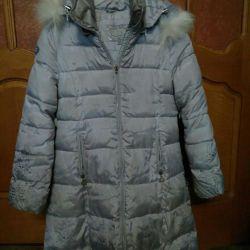 Down jacket, coat.