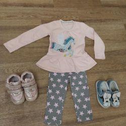 Ένα πακέτο ρούχων για το κορίτσι 80-86-92r, παπούτσια 25,26r