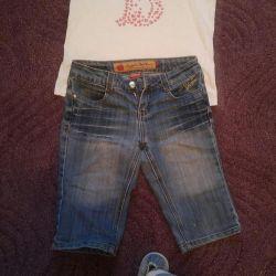 Denim shorts and t-shirt