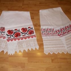 Towel hand lace, hand embroidery