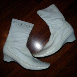 Çizme demi-sezon., Kullanılmış, beyaz, boyut 37.5