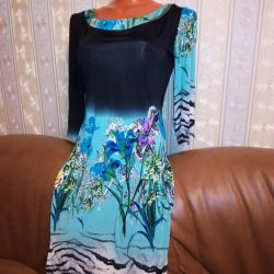 Dress 42-44-46 turquoise with floral print