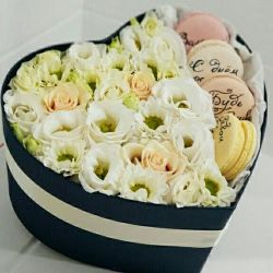 Chrysanthemums and roses in a box